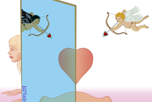 Cartoon: cupids at war (medium) by LeeFelo tagged mirrored,mirror,late,valentine,heart,bottom,bum,nude,pink,heal,blonde,cupid,arrow,condom,dark