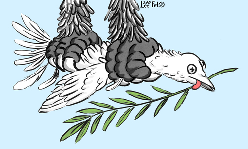 Cartoon: PAIX (medium) by LeeFelo tagged hope,claws,eagle,branch,olive,pigeon,peace