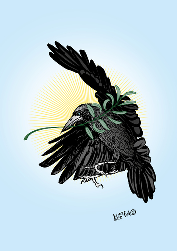 Cartoon: rook of peace (medium) by LeeFelo tagged gray,white,claw,beak,black,feathers,bird,holly,renewal,spring,hope,magic,mystic,peace,branch,olive,raven,crow