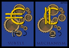 Cartoon: The Euro subtle mechanism (small) by LeeFelo tagged euro,subtle,mechanism,100,times,less,crises,financial,key,turn,economic,cogwheel,gear