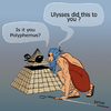 Cartoon: Ulysses was here (small) by LeeFelo tagged ulysses,polyphemus,blind,cane,seeing,eye