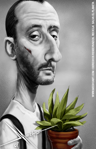 Cartoon: Jean Reno (medium) by Mecho tagged jean,reno,leon,el,profesional