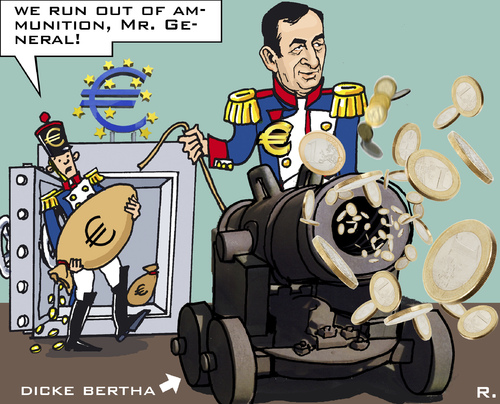 Cartoon: Euro - Artillery (medium) by RachelGold tagged draghi,mario,bank,central,european,artillery,bertha,dicke,euro