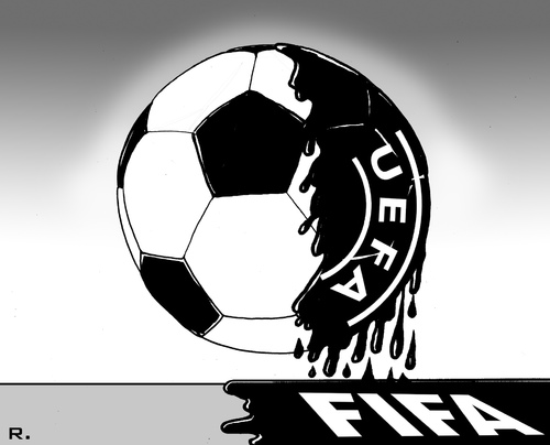 Cartoon: The Dark Side of the Ball (medium) by RachelGold tagged soccer,corruption,ffa,uefa,blatte,platinie,the