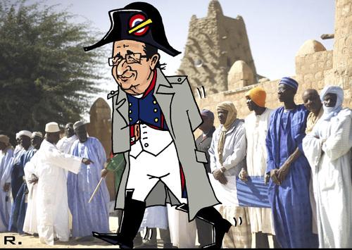 Cartoon: The Liberator (medium) by RachelGold tagged france,francoise,hollande,mali,tibuktu,war,napoleon