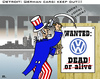Cartoon: Detroit vs. Wolfsburg (small) by RachelGold tagged detroit,wolfsburg,gm,vw,scandal,environment,emissions,economic,fight