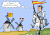Cartoon: Windmills of Separatism (small) by RachelGold tagged spain,catalonia,basque,separatism,separatist,windmills,donquijote