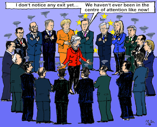 Cartoon: Another Brexit-EU-Summit (medium) by MarkusSzy tagged eu,summit,brussels,prime,ministers,brexit,may,juncker,merkel,tusk