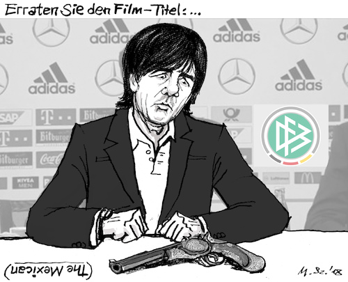 Cartoon: Deutsche Depri. (medium) by MarkusSzy tagged fifa,fussball,wm,deutschland,mexiko,depression,niederlage,the,mexican,film