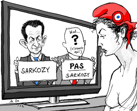 Cartoon: la decision de Marianne (medium) by MarkusSzy tagged france,presidency,election,sarkozy