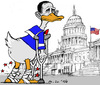 Cartoon: Lame Lame Duck (small) by MarkusSzy tagged usa,midterm,elections,congress,democrates,republicans,obama,lame,duck