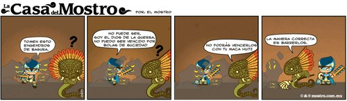 Cartoon: enemigos dificiles (medium) by mostro tagged mostro,azteca,ajolote,quetzalcoatl,huitzilopochtli,vector,mexica,aztec,limpieza,basura