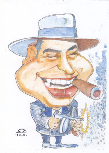 Cartoon: Al Capone (medium) by zed tagged al,capone,brooklyn,new,york,usa,gangster,criminal,prohibition,famous,people,portrait,caricature