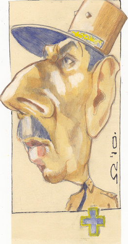Cartoon: Charles de Gaulle (medium) by zed tagged charles,de,gaulle,france,general,politician,world,war,portrait,caricature