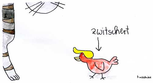 Cartoon: Zwitschert (medium) by Matthias Schlechta tagged trump,twitter,usa,trump,twitter,usa