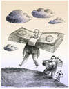 Cartoon: Oil makes the world go around (small) by firuzkutal tagged oil,war,syria,iran,petrol,usa,money,capitalism,power,sky,cloud,following,platform,slave