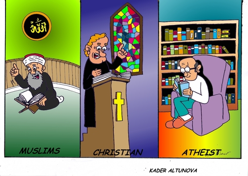 Cartoon: Religion steht im (medium) by kader altunova tagged christentum,islam,atheismus