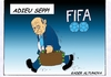 Cartoon: FIFA-Chef Blatter tritt zurück (small) by kader altunova tagged blatter,sepp,fussball