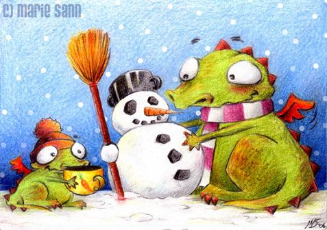 Cartoon: Schneemann (medium) by Marie Sann tagged dragon,winter,funny