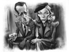 Cartoon: BOGIE AND BACALL (small) by slwalkes tagged actor,actress,humphrey,bogart,lauren,bacall,stephen,lorenzo,walkes,digital,painting