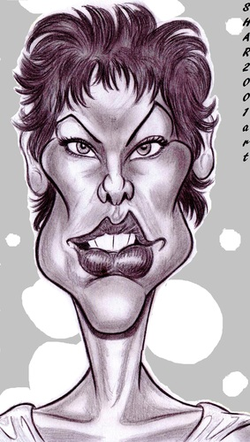 Cartoon: Milla Jovovich (medium) by shar2001 tagged jovovich,milla,caricature