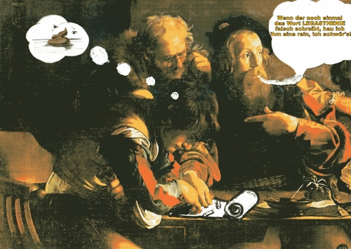 Cartoon: Matthaeus Berufung fake (medium) by tobelix tagged caravaggio,mattaeus,berufung,fake,tobelix