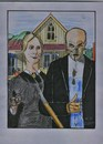 Cartoon: American gothic fake (small) by tobelix tagged american,gothic,fake,grant,wood,1930,friedlich,peaceful,streit,anger,tobelix