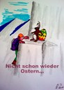Cartoon: Ostern naht (small) by tobelix tagged bunny,hase,ostern,easter,ei,eggs,bergsteiger,mountaineer,überraschung,surprise,tobelix