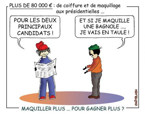 Cartoon: Maquillage presidentiel (medium) by chatelain tagged humour,patarsort,maquillage,france