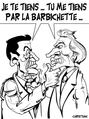 Cartoon: affaire CLEARSTREAM ... (medium) by CHRISTIAN tagged sarkozy,villepin,proces,clearstream