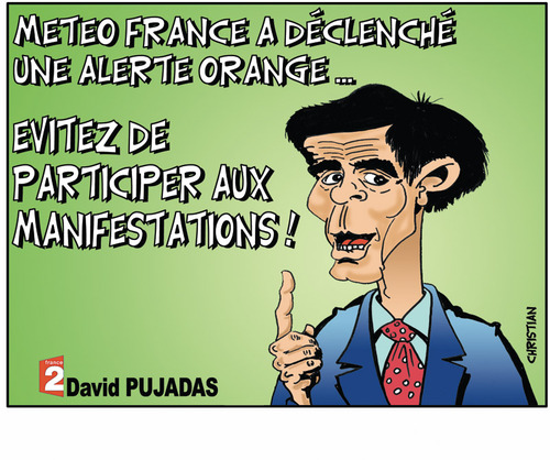 Cartoon: alerte meteo et greves ... (medium) by CHRISTIAN tagged greve,alerte,meteo
