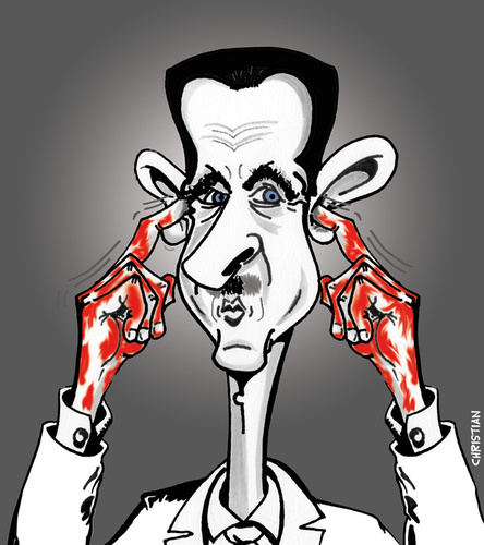Cartoon: BACAHAR fait la sourde oreille (medium) by CHRISTIAN tagged bacahar,el,assad,syrie,massacre,otan,onu