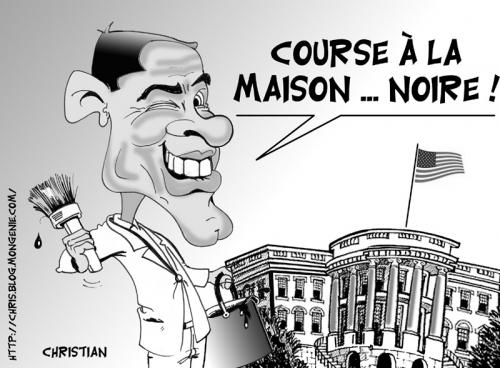 Cartoon: Barack OBAMA ... (medium) by CHRISTIAN tagged elections,usa,obama,hillary,maison,blanche