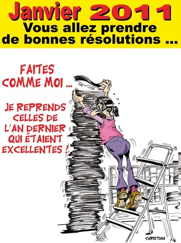 Cartoon: BONNES RESOLUTIONS ... (medium) by CHRISTIAN tagged nouvel,an