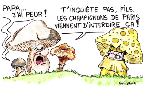 Cartoon: champignons (medium) by CHRISTIAN tagged champignons