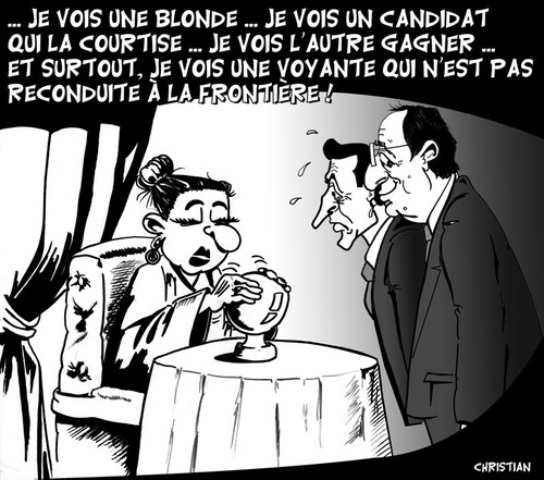Cartoon: deuxieme tour des elections (medium) by CHRISTIAN tagged hollande,elections,presidentielles,sarkozy