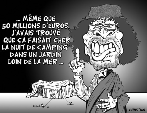 Cartoon: Financement de la campagne ... (medium) by CHRISTIAN tagged khadafi,sarkozy