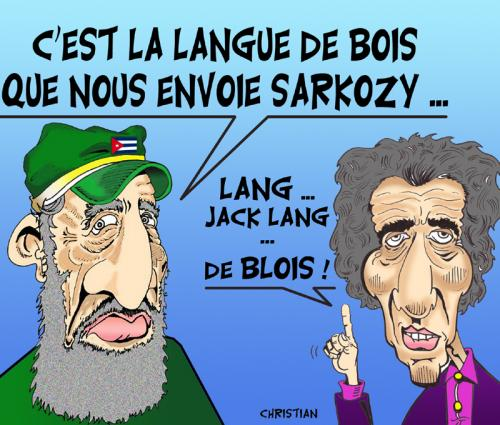 Cartoon: Jack LANG en mission a Cuba (medium) by CHRISTIAN tagged lang,cuba,sarkozy