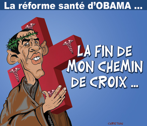Cartoon: Joyeuses Paques et bonne sante ! (medium) by CHRISTIAN tagged obama,reforme,sante