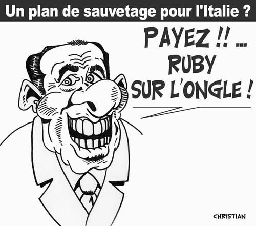 Cartoon: ON VA PAYER ! (medium) by CHRISTIAN tagged berlusconi,italie,crise,euro