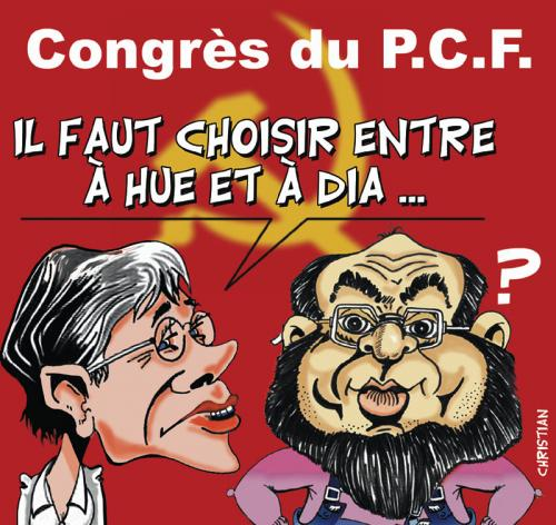Cartoon: P.C.F. congress (medium) by CHRISTIAN tagged pcf,buffet,hue
