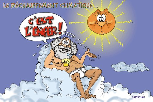 Cartoon: quelle chaleur ! (medium) by CHRISTIAN tagged climat,canicule