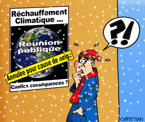 Cartoon: rechauffement climatique (medium) by CHRISTIAN tagged climat,rechauffement,neige