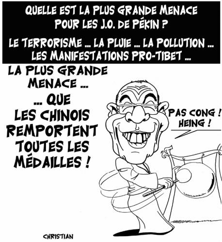 Cartoon: voix de la sagesse ! (medium) by CHRISTIAN tagged jo,menace,dalai,lama