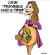 Cartoon: Carla Bruni enceinte (small) by CHRISTIAN tagged carla,bruni,grossesse,sarkozy