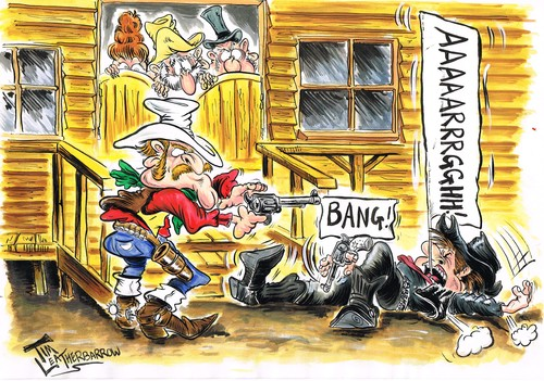 Cartoon: THE TOY GUNFIGHT AT OK CORAL! (medium) by Tim Leatherbarrow tagged cowboys,wildwest,gunfight,okcoral,saloon