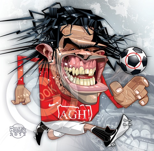 Cartoon: Carlos Tevez (medium) by Russ Cook tagged united,argentina,sport,illustration,city,manchester,argentinia,forward,argentine,division,premier,soccer,footie,football,drawing,zeichnung,karikaturen,karikatur,cartoon,caricature,cook,russ,tevez,carlos