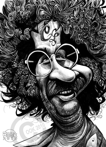 Cartoon: Jerry Garcia (medium) by Russ Cook tagged drawing,cartoon,caricature,illustration,karikaturen,karikatur,zeichnung,cook,russ,psychedelic,folk,acid,stoned,stoner,60s,music,musician,rock,dead,guitar,guitarist,grateful,garcia,jerry