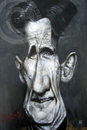 Cartoon: George Orwell (small) by Russ Cook tagged george,orwell,russ,cook,caricature,karikatur,karikaturen,zeichnung,1984,painting,canvas,acrylic
