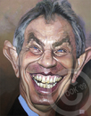 Cartoon: Tony Blair (small) by Russ Cook tagged tony blair labour prime minister russ cook uk united kingdom painting karikatur karikaturen zeichnung acrylic canvas politics